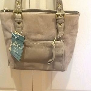 STONE MOUNTAIN TAUPE SUEDE BAG NWT
